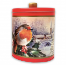 Embossed Robin in a Winter Village Round Tin 300g 6bl