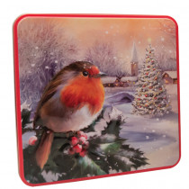 Embossed Robin in a Winter Village Tin 160g 6bl